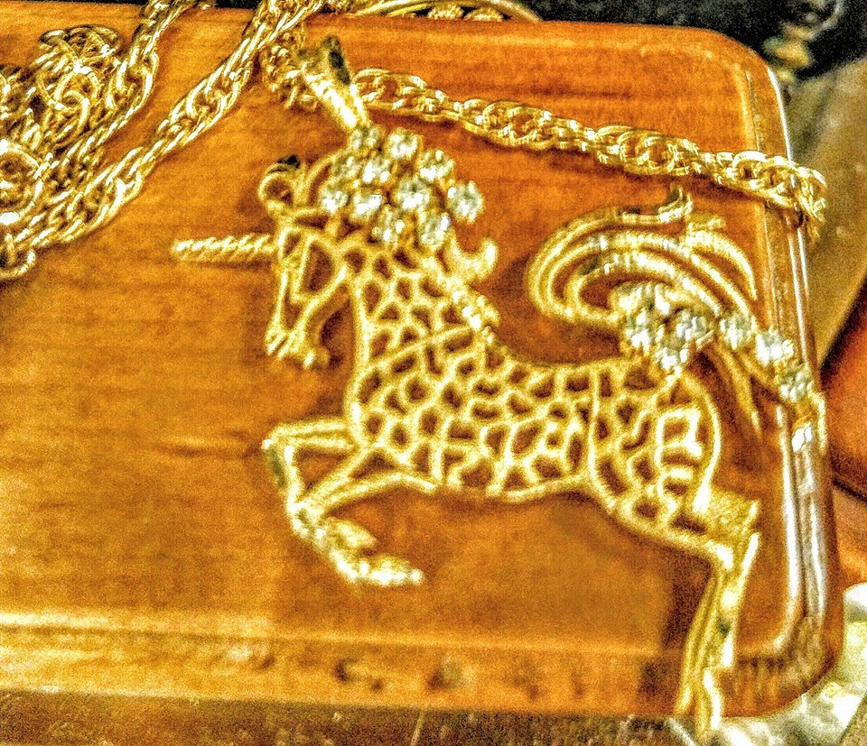 stuff for sale vintage rhinestone unicorn pendant necklace