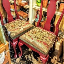 Six Vintage Queen Anne Style Dining Chairs, Fort Worth Furniture