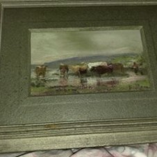 Texas Artist, Frank Reaugh painting, longhorn landscape, Fort Worth antiques