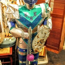 Vintage Standing Colorful Lighted Metal Knight in Shining Armor, Fort Worth Vintage