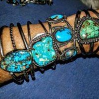 Turquoise & Sterling Jewelry Bracelets, Vintage Fort Worth