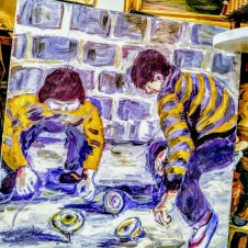First Place. Blue Ribbon Original Painting. Boys playing with Tops./