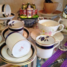 Antique and Vintage fine porcelain Tea cups with saucers