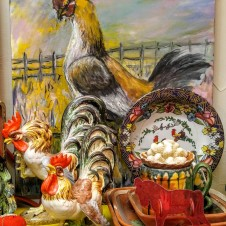 Vintage Chickens and Paintings